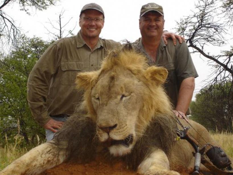 Photo de Walter Palmer et Theo Bronkhorst à droite devant le corps sans vie de Cecil, le lion zimbabwéen vedette du parc national local.