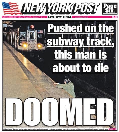 Une du 4 decembre du New York Post montrant Han avant de se faire percuté par le métro de la ligne Q - Photo de Umar Abbasi
