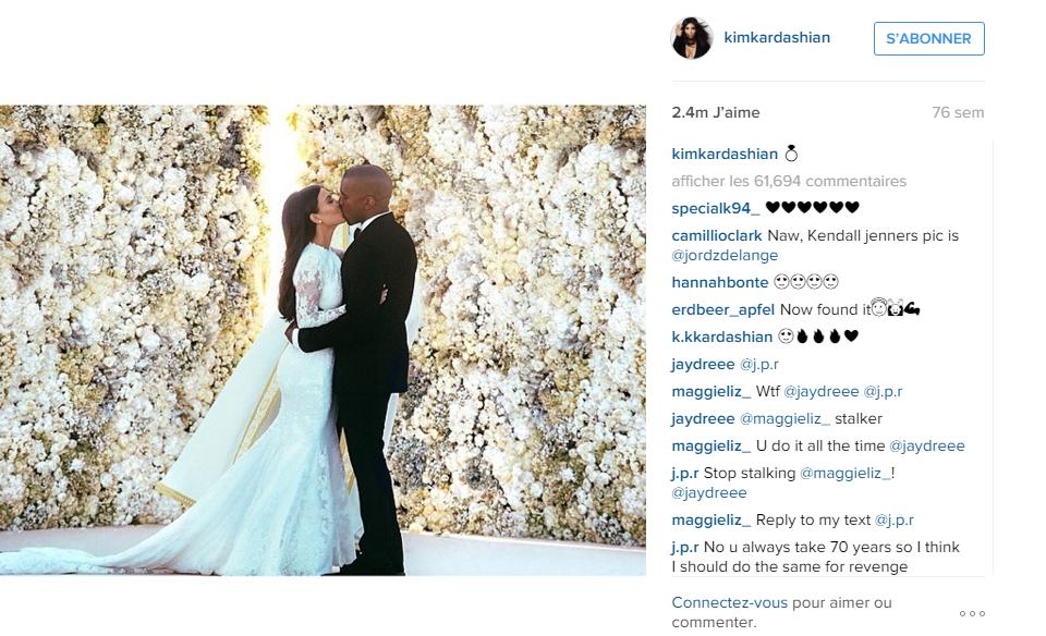 Photo de Kim Kardashian et Kanye West lors du mariage du couple à Florence. Cette photo a longtemps détenu le record de like.