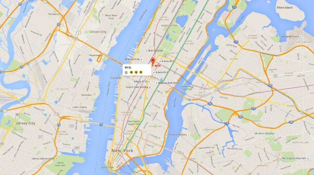 Situation géographique de la station de la ligne Q où la photo choc de Han a été prise par Abbasi